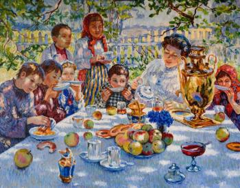 "Copy of a picture of Bogdanov-Belsky ""teacher's Name-day"""