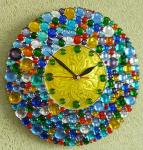 "Glass clock ""New Year""-2 glass fusing. Repina Elena"
