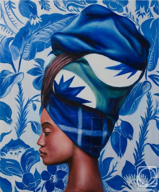 Роспись по стеклу негритянки