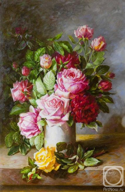 Painting Oil Painting A Bouquet Of Roses In A Vase Buy On
