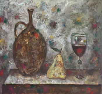 A pitcher, a glass and a pear. Bykov Sergey