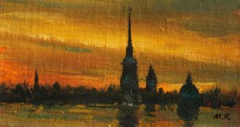 Evening at Neva-river