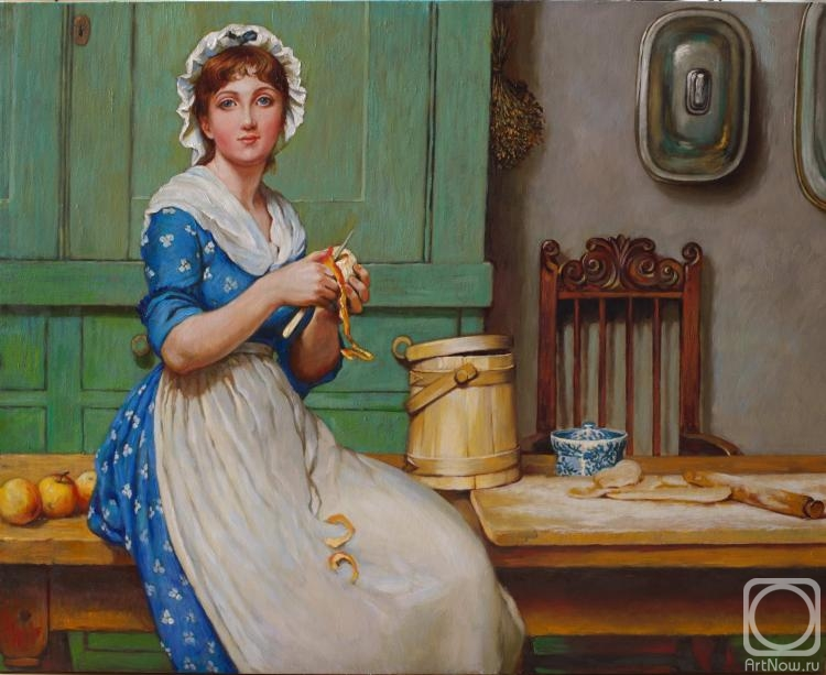 "Simonova Olga. The copy of the picture G. Lanlop ""The Girl in kitchen"""