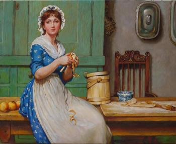 "The copy of the picture G. Lanlop ""The Girl in kitchen"""
