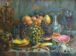 Silaeva Nina. Still life with fruit and a glass of wine