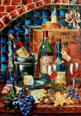 Still life with wine and grapes (Croissant). Kirillova Juliette