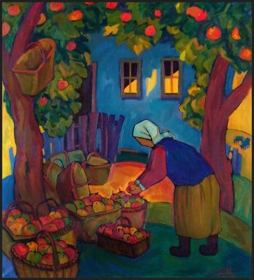 Triptych of rural life. Apple Saved. Ivanova Ekaterina