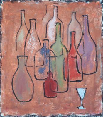 "Barsukov Denis. ""Still life with bottles and a glass"""