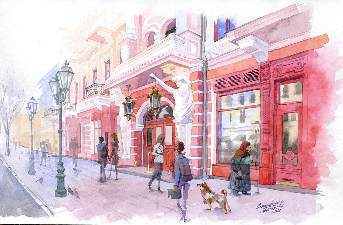 Painting «Odessa. Red House» — buy on ArtNow.ru