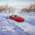 Sports car on snow track. Vevers Christina