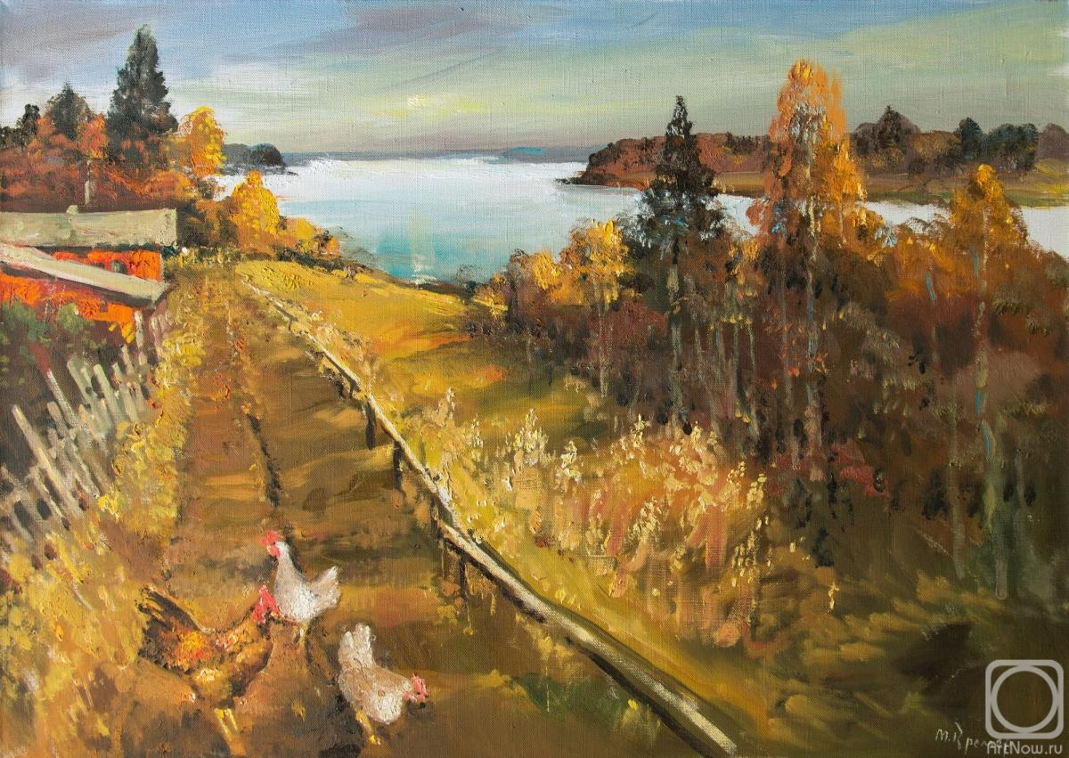 Kremer Mark. Warm autumn over the Lake, chickens