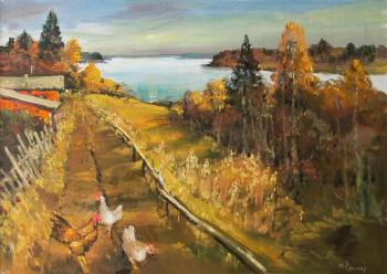 Warm autumn over the Lake, chickens. Kremer Mark