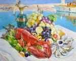 Biryukova Lyudmila. Still life with lobster, oysters and fruit