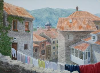Montenegro. Roofs in Kotor (watercolour)