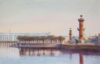 Saint-Petersburg. Rostral columns on the Arrow. Romm Alexandr