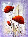 Red poppies on a lilac background