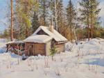 Volya Alexander. Winter, bathhouse, sketch