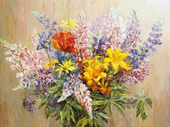 Artemis Artists Association. Bouquet with yellow lilies
