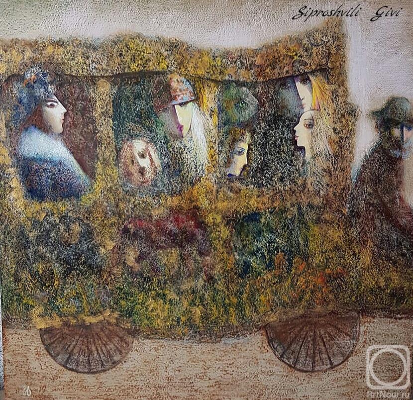 Картина маслом на холсте. Сипрошвили Гиви. Старый дилижанс