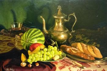 Still life with bread and fruit. Croitor Igor
