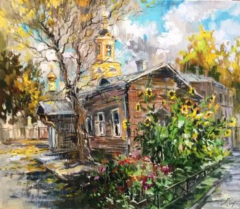 Charina Anna. Front garden with sunflowers. The court in B. Predtechensky lane