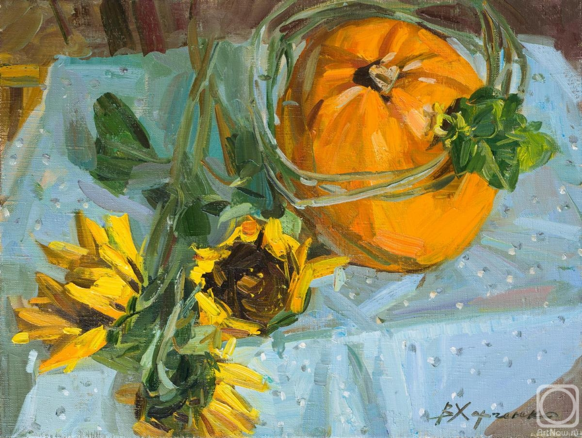 Kharchenko Victoria. Pumpkin in a cucumber wreath