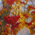 through branches and bunches of Rowan. Chizhova Viktoria