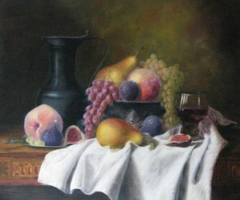 Still life with figs and grapes. Fomina Lyudmila