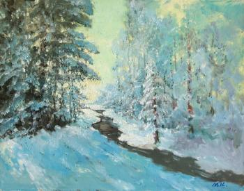 Kremer Mark. Winter in the forest, stream