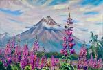 Stepanov Pavel. Ivan-tea on the background of Koryak volcano. Kamchatka