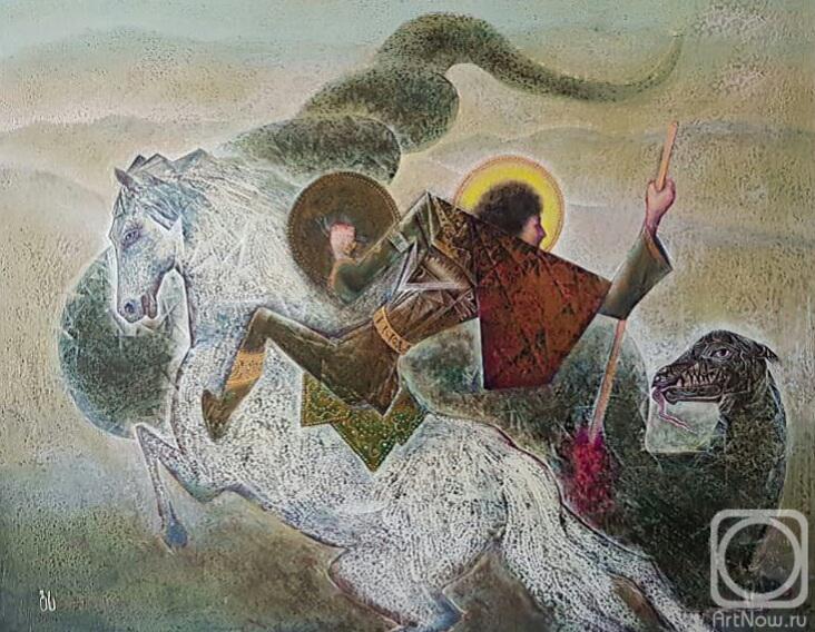 Картина маслом на холсте. Сипрошвили Гиви. Георгий Победоносец