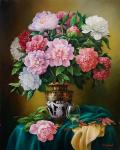 Peonies in an old antique vase. Cherkasov Vladimir