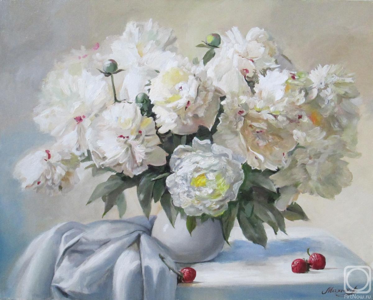 пионы белые живопись картинки
