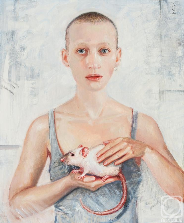 Lutokhina Ekaterina. Portrait of a girl with a rat