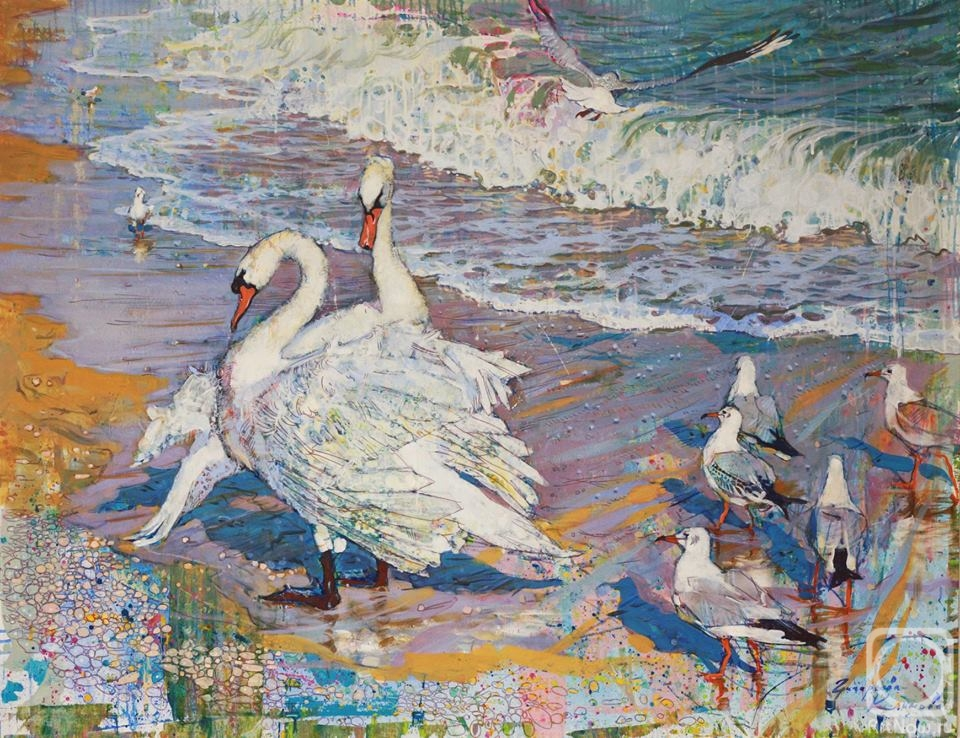 Grigorieva-Klimova Olga. Swans at the Black sea