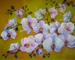 Orchids on yellow (detail)