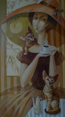 A Cup of coffee with your favorite cats. Panina Kira