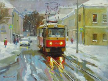 Volkov Sergey. A red tram in the thaw on Pokrovsky Boulevard