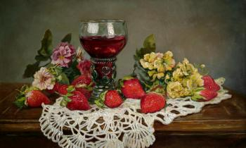 Wine and strawberries. Panov Eduard