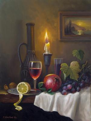 Still life with candle (Wine Glasses). Solovyev Sergey
