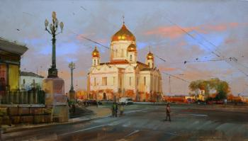 Warm walls of the Temple. Prechistensky Gate Square. Moscow. Shalaev Alexey