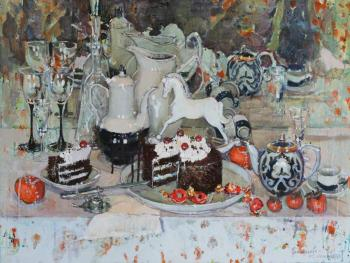 Still life with chocolate cake