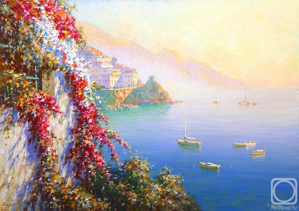 Obukhovskiy Yuriy. Amalfi Flowers over the sea