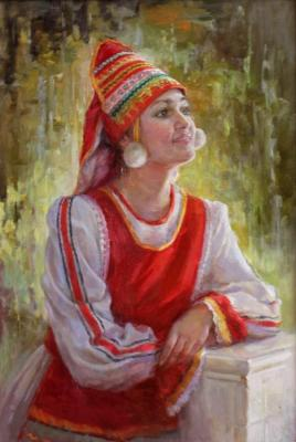 Girl in a stylized Mordovian costume