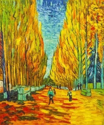 A copy of Van Gogh's painting. Aliscamp Alley, 1888. Vlodarchik Andjei
