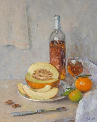 Alexandrovsky Alexander. Cyprus fruit and a bottle of wine