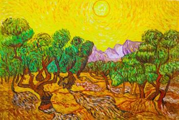 A copy of Van Gogh's painting. Olive trees with a yellow sky and the sun , 1889. Vlodarchik Andjei