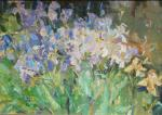 Komov Alexey. Irises and cornflowers. The plein air.