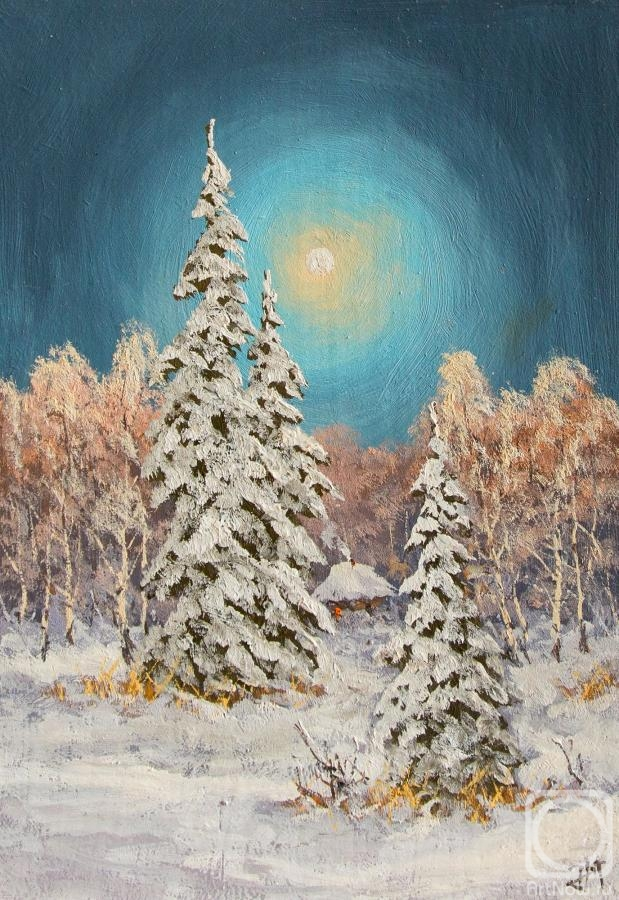 Lyamin Nikolay. The reflection of the moon on the snow cover