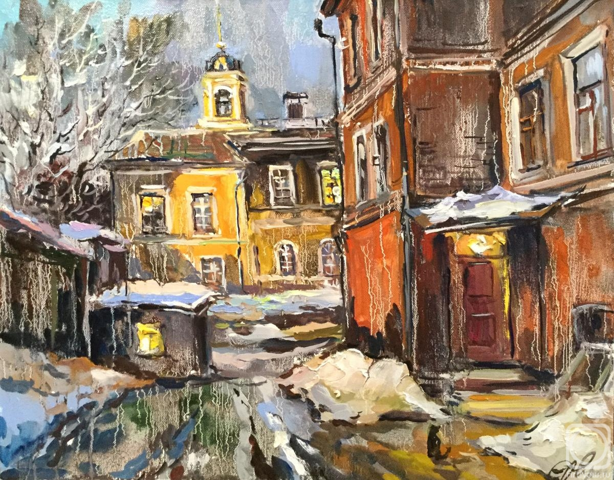 Charina Anna. Winter evening. Courtyard on ulitsa Rozhdestvenka